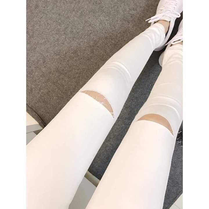 Quần jean skinny rách gối nữ 11