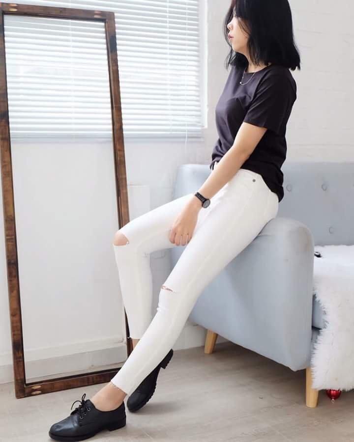 Quần jean skinny rách gối nữ 6