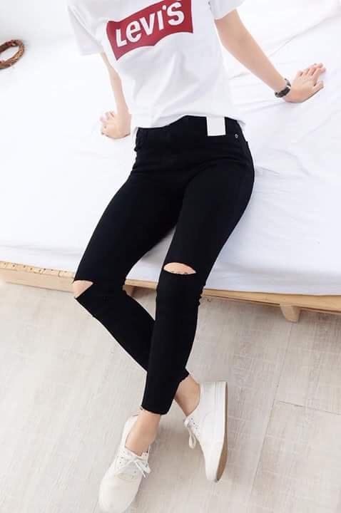 Quần jean skinny rách gối nữ 7