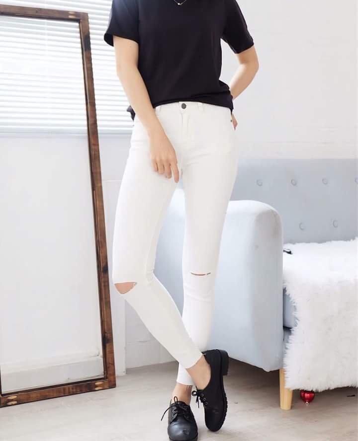 Quần jean skinny rách gối nữ 10