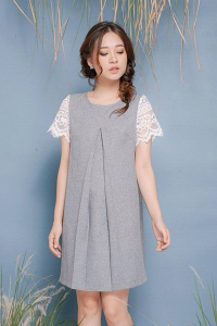Đầm kaki phối ren