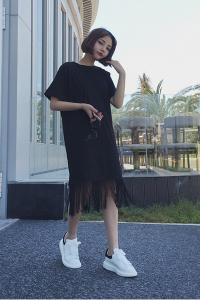 Đầm suông tua rua